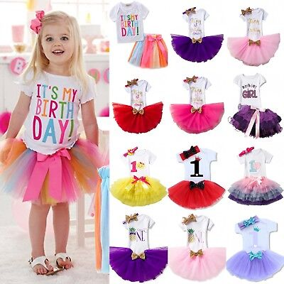 Baby Girls 1st First Birthday Dress Tutu Skirt Headband Cake Party Outfits Sets