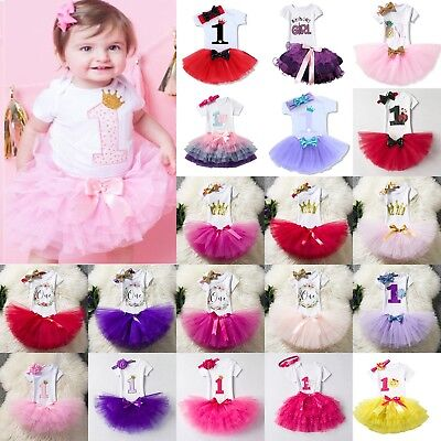 Baby Girl First 1st Birthday Outfit Tutu Skirt Dress Cake Smash Party Headband