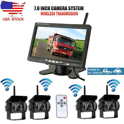 "4x Wireless IR Rear View Back up Camera System + 7"" Monitor For Truck RV 12-24V"