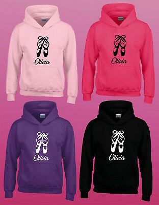 Personalised Hoodie - Ballet Shoes Dancing Logo - Any Name - Girls Female Hoody