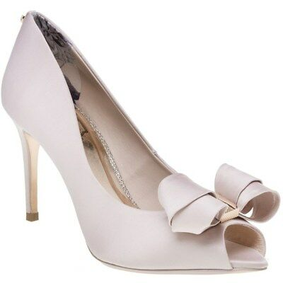 77159bab22f18 NEW WOMENS TED Baker Pink Nude Vylett Textile Shoes High Heels Slip ...