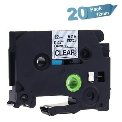 20PK TZe131 P-touch Label Tape Compatible for Brother 12mm Black on Clear Ribbon
