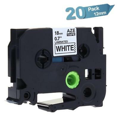 20PK TZe241 P-touch Label Tape Compatible for Brother 18mm Black on White Ribbon