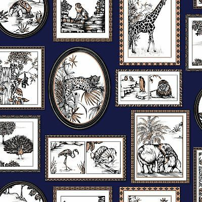 Safari Frames Wallpaper Navy Blue / Copper - Holden 90072