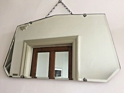 Vintage Frameless Fan Mirror Bevelled Edge Art Deco 1940s Original Chain 55x33cm