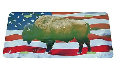 American Buffalo Bison On Usa Flag License Plate 6 X 12 Inches  New Aluminum