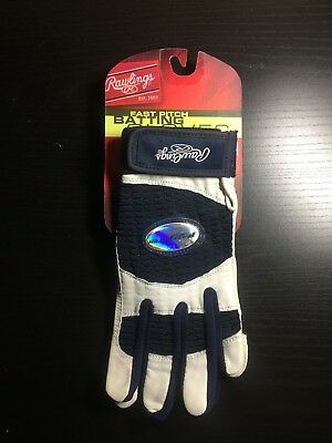 Rawlings Batting Gloves Women's L White, Navy Durable Genuine Leather New W/tags