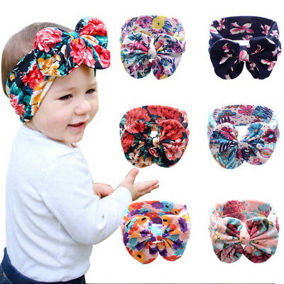Newborn Headband Cotton Elastic Kids Baby Print Floral Hair Band Girls Bow-knot