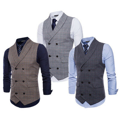 Stylish Men's Tweed Vintage Double Breasted British Casual Waistcoat Formal Vest