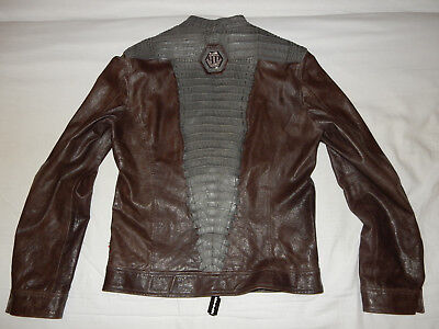 155c3e010496 ORIGINAL PHILIPP PLEIN Biker Leather Jacket Lederjacke Crocodile leather