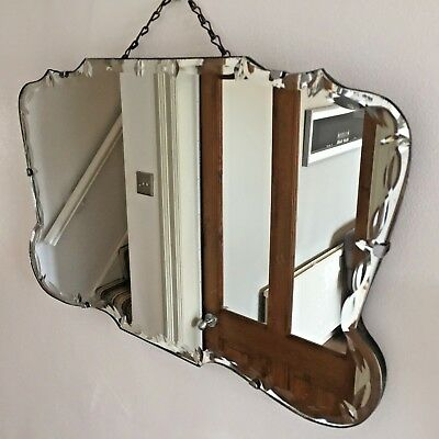 Art Deco Vintage Frameless Mirror Bevelled Edge Rare Shape 1930s Chain 54x33cm