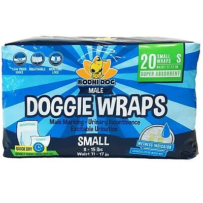 Disposable Dog Male Wraps | 20 Premium Quality Adjustable Pet Diapers with Mo...