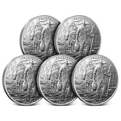 Lot of 5 - 1 oz Silver Rounds Provident Prospector .999 - Brand New From Mint!