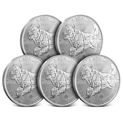 2018 Canada 1 oz Silver Predator Series | Wolf - Lot of 5 Coins