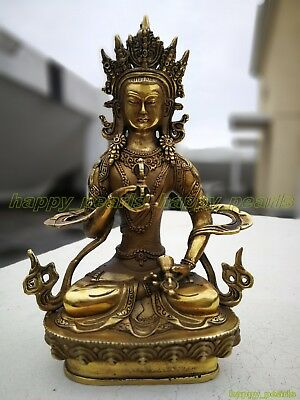 Ancient Bronze gilding Buddha Old Temple God Statue Antique Bodhisattva