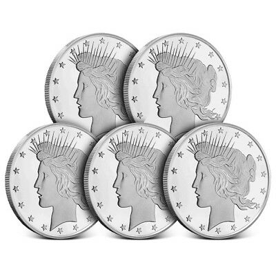 Lot of 5 - 1 oz Highland Mint (HM) .999 Silver Rounds Peace Dollar Design - New