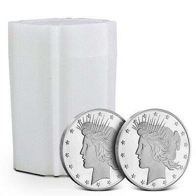 Lot/Tube of 20 - 1 oz Highland Mint (HM) .999 Silver Rounds Peace Dollar Design
