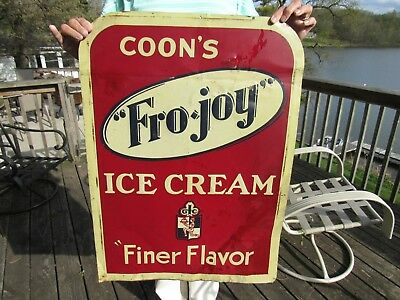 VINTAGE ORIGINAL 1920's COON'S FRO-JOY ICE CREAM SIGN BABE RUTH ADVERTISED FOR