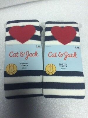 2 Pairs Cat & Jack Footed Tights 4-6X