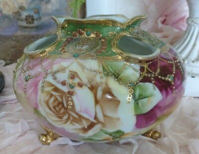 Antique Nippon Moriage Footed Hand Painted Pink Roses Squat Vase Gold Gilt