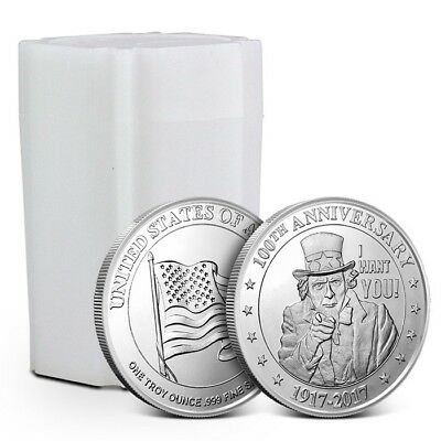 Tube/Lot of 20 - 1 oz .999 Silver Round Highland Mint (HM) Uncle Sam Design New