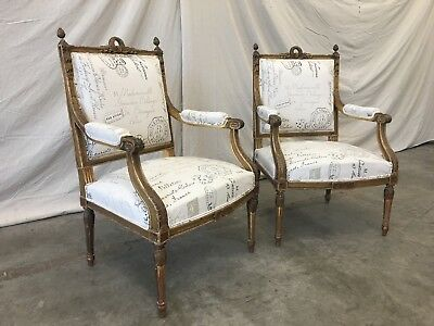 Italian Antique Louis XVI Style Arm Chairs - A Pair