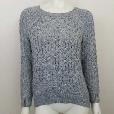 ba0930052d8d1 H M Womens Size XS Oversized Grey Cable Knit Hi Low Tunic Long Sleeve  Sweater