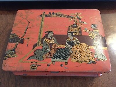 VINTAGE RED/ORANGE LACQUER JEWELRY BOX of JAPANESE NOBLE WOMEN PLAYING CHECKERS