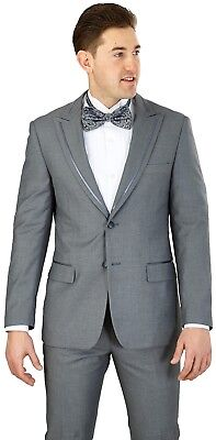 Men's Tuxedo Formal Suit Gray Modern Fit Single Breasted 2 Buttons Wedding Prom