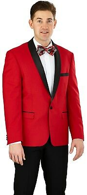 Men's Tuxedo Formal Suit SLIM FIT Red/Black Single Breasted 1 Button YS61S
