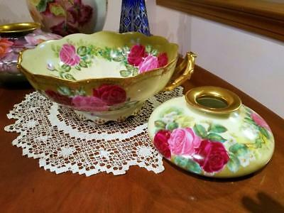 """Limoges Hand Painted Punch Bowl Centerpiece,Master Artist Signed """"Leroy"""""""