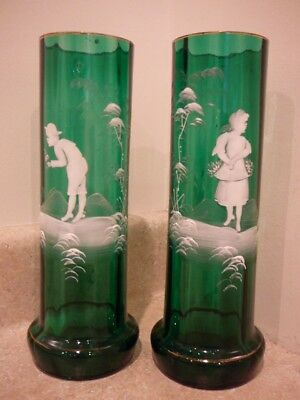Antique Mary Gregory Enamel Decorated Art Glass Vase Emerald Green Boy Girl Pair
