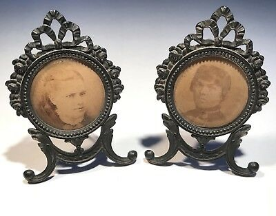 Pair Antique Mini Victorian Silver Tarnish Metal Floral Ornate Picture Frames
