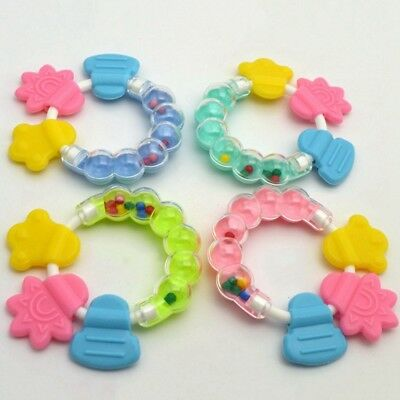 Safety Baby Kids Toddler Teether Hand Shake Bell Ring Funny Educational Toys