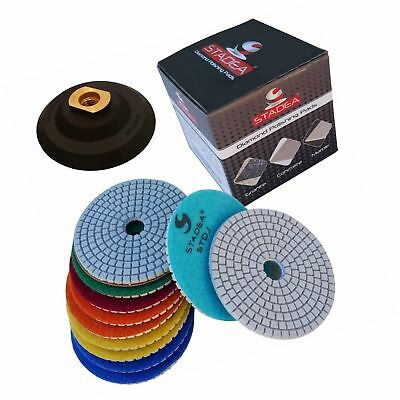 "Diamond Polishing Pads 4"" inch Wet/Dry Set of 11+1 Backer Pad Best Value Gran..."