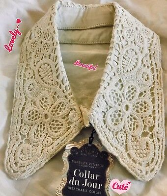 Delicate-Vintage crocheted/satin Detachable Collar with button-*Reversible* New