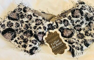 Funky-Vintage Leopard Print Shaggy Detachable Collar with Clasp-*New*