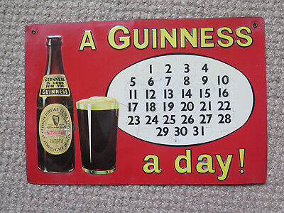 "GUINNESS PERPETUAL CALENDAR ADVERTISING TIN SIGN ""A GUINNESS A DAY!"" c1950"