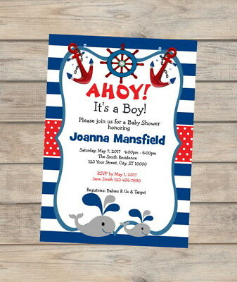 NAUTICAL SAILBOAT BABY Whale Fill In Blank Baby Shower Invitations