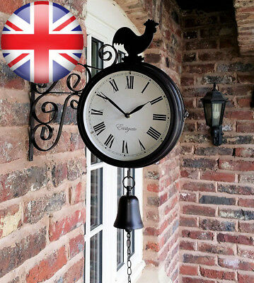 Cockerel And Bell Outdoor Garden Clock With Station Bracket Double Sided -...