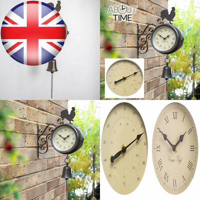 About Time Bracket Mounted Cockerel and Bell Garden Outdoor Clock...
