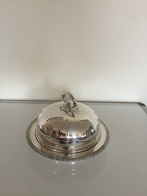 "Large Quality Silver Plated Muffin Dish 8"" In Diameter ( Elkington & Co)"