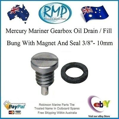 A Brand New Mercury Mariner Gearbox Oil Drain / Fill Bung With Magnet # 318544