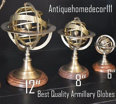 Set of 3 Pcs Nautical Handmade Solid Brass Sphere Globe Armillary W/ Wooden Base