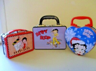 Betty Boop Lot Of 3 Metal Mini Tins 1 Heart Shaped Two Recentangle Shaped