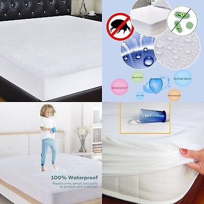 Waterproof Mattress Protector Single Small Double Super King Size Terry Towel