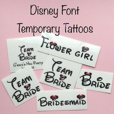 Team Bride Hen Party Disney Font Temporary Tattoos Wedding Favors Personalised