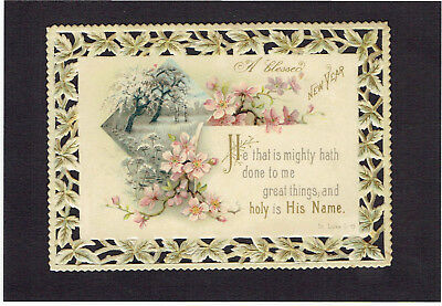 victorian new year greetings card flowers die cut border religious text