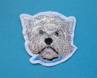West Highland Dog Embroidered Patch Applique Iron Sew On Patch Westie Terrier