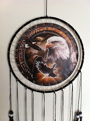 "Cherokee 26"" Dream Catcher, Eagle Printed on Canvas, Black Feathers, Black Beads"